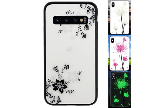 Samsung S10 Hoesje Bloemen - BackCover Magic Glass 1