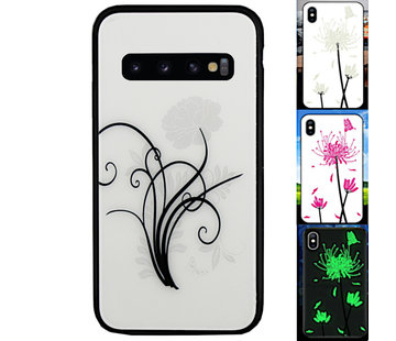 Colorfone Samsung S10 Plus Hoesje Bloemen - BackCover Magic Glass 2