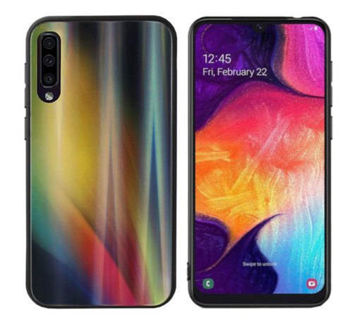 Colorfone BackCover Aurora Glass voor Samsung A70 Geel