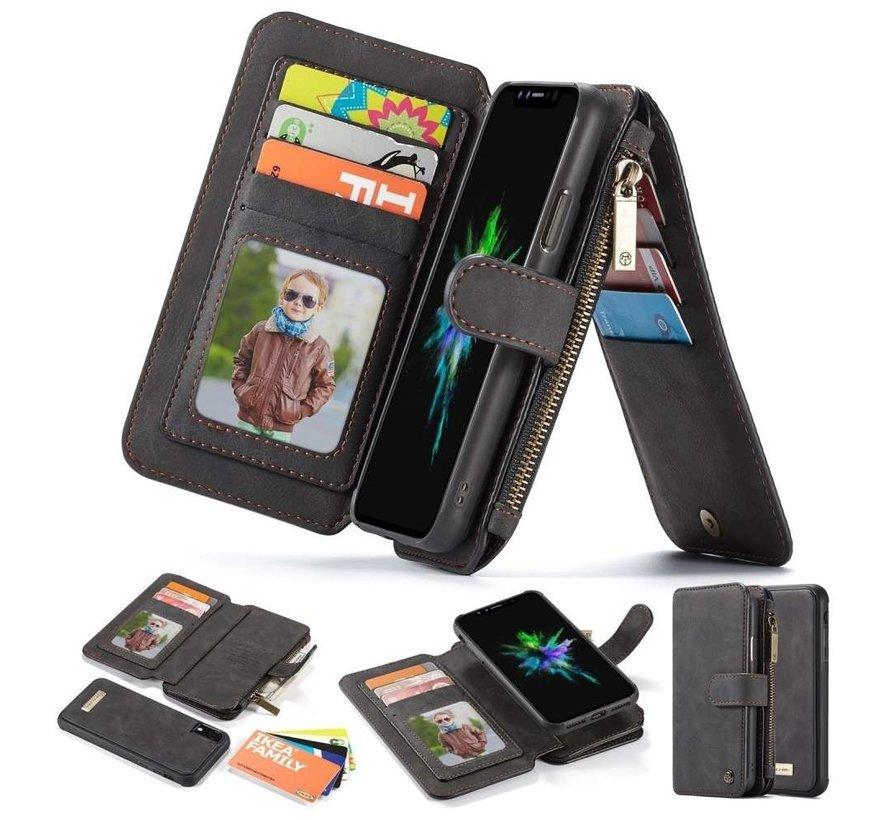 2 in 1 Zipper Wallet Hoes voor iPhone 11 Pro Max Zwart