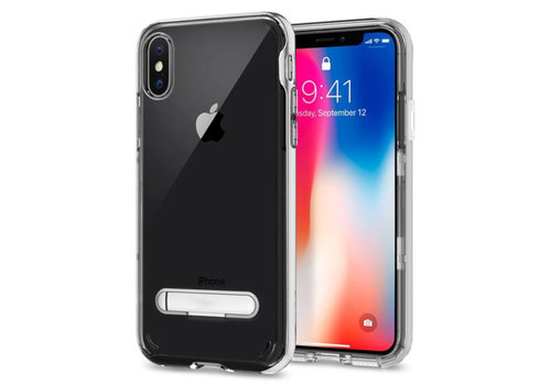 Kickstand iPhone Xs Max Transparant Zilver