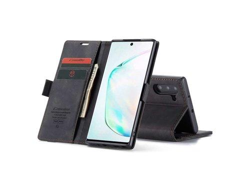 Retro Wallet Slim voor Note 10 Zwart