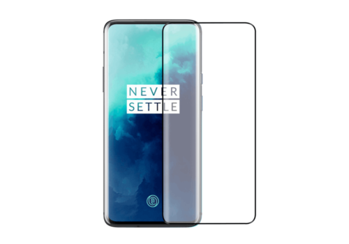 OnePlus 7T Pro Screenprotector Glas Curved - zwarte rand