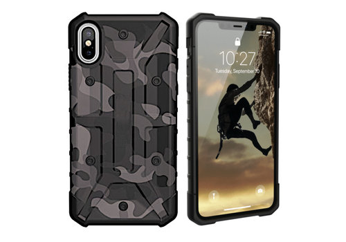 iPhone Xs Max Hoesje Transparant Zwart - Army