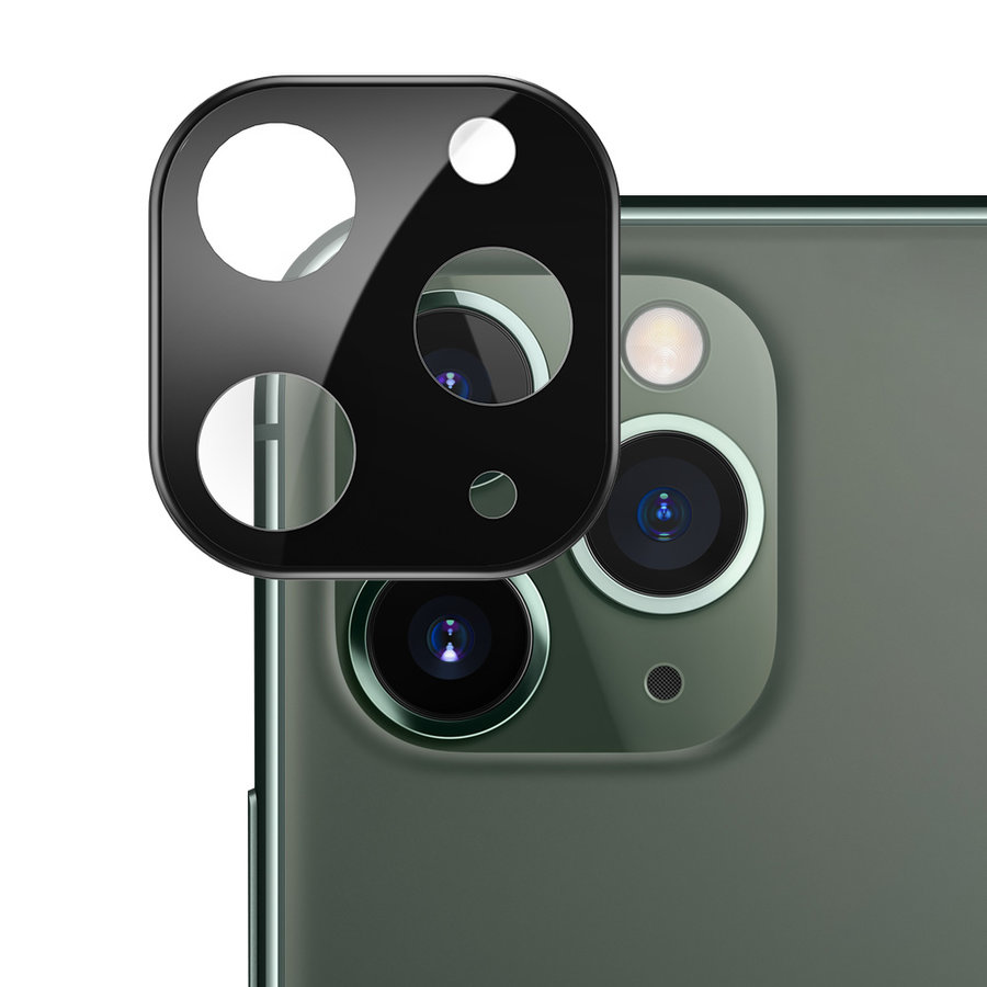 Titanium + Tempered Glass Camera Lens Protector iPhone 11 Pro/11 Pro Max Zwart