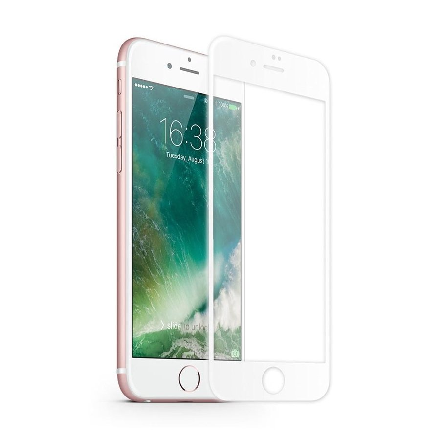 Screenprotector Tempered Glass 2.5D Apple iPhone 8 Plus/7 Plus Transparant Wit