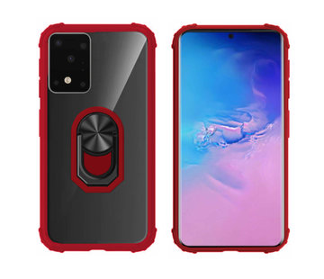 Colorfone Samsung S20 Plus Hoesje Transparant - Rood Ring Houder