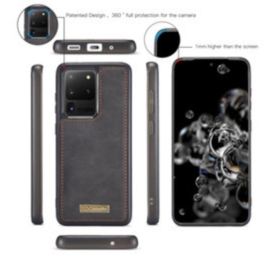 Samsung S20 Ultra Hoesje Zwart - 2 in 1 Zipper Wallet Case