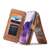 CaseMe Samsung S20 Ultra Hoesje Bruin - 2 in 1 Zipper Wallet Case