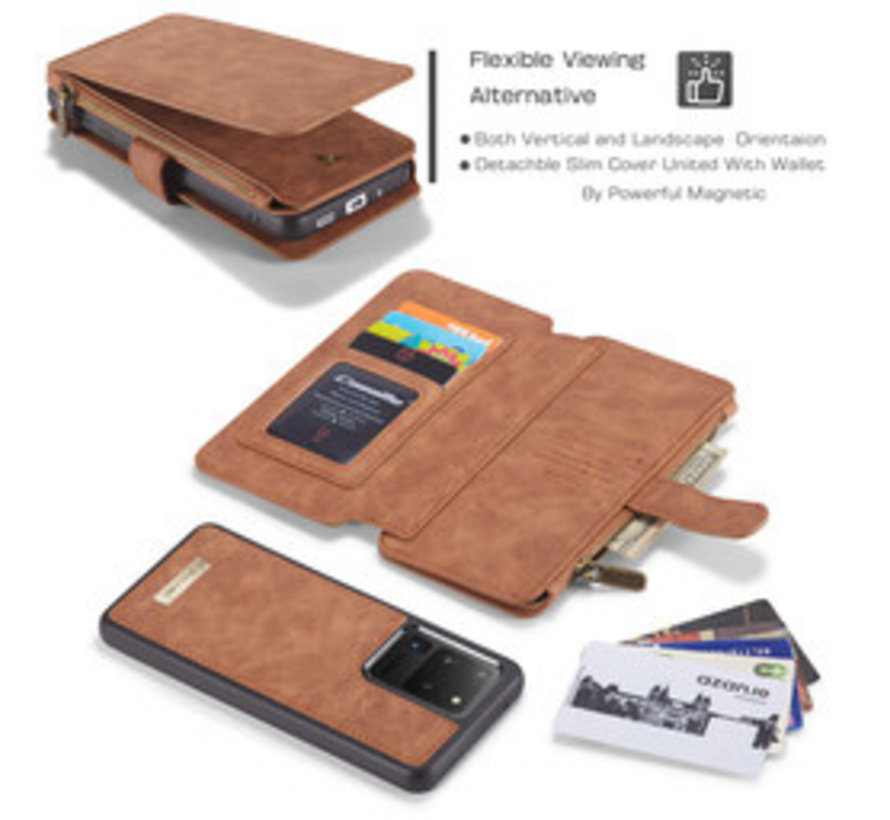 Samsung S20 Ultra Hoesje Bruin - 2 in 1 Zipper Wallet Case