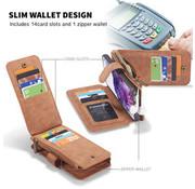 CaseMe Samsung S20 Plus Case Braun - 2 in 1 Zipper Wallet