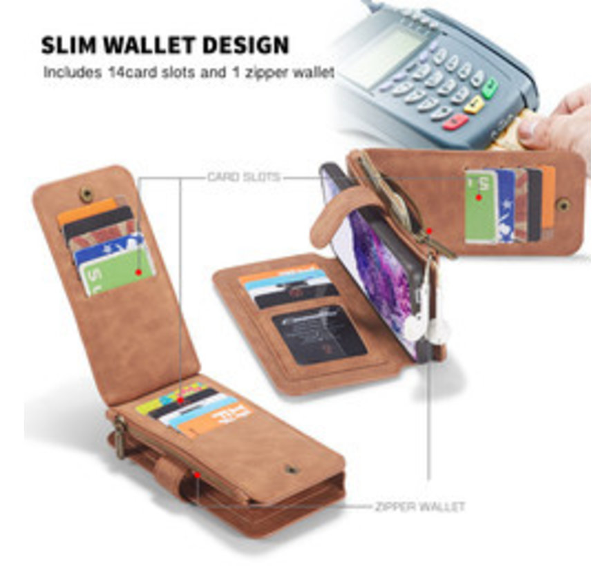 Samsung S20 Plus Hoesje Bruin - 2 in 1 Zipper Wallet Case