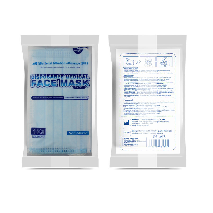 Disposable mouth masks 10 pieces in sealed packaging