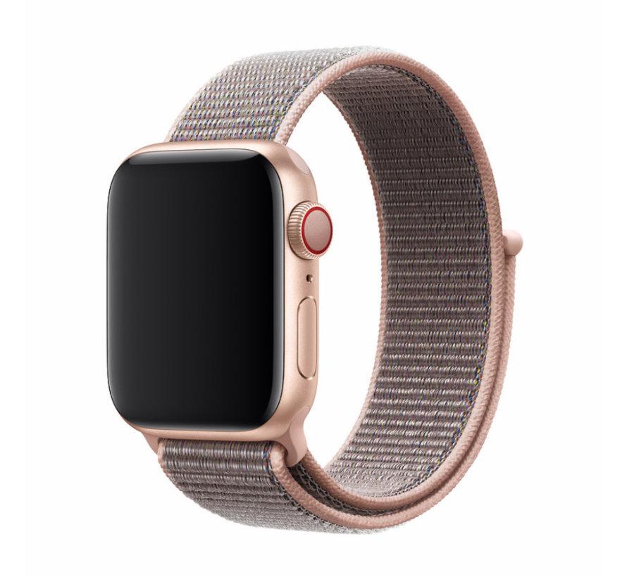 Geschikt voor Apple Watch 42/44MM Bandje Lichtroze - Nylon