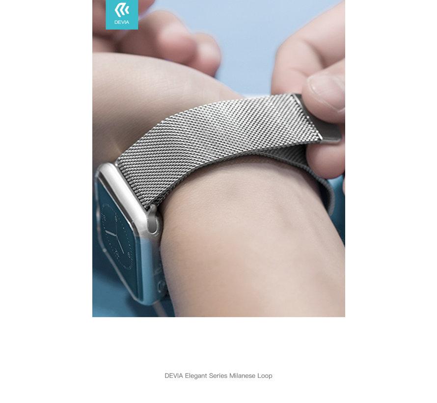Geschikt voor Apple Watch 42/44MM Bandje Zilver - Milanees