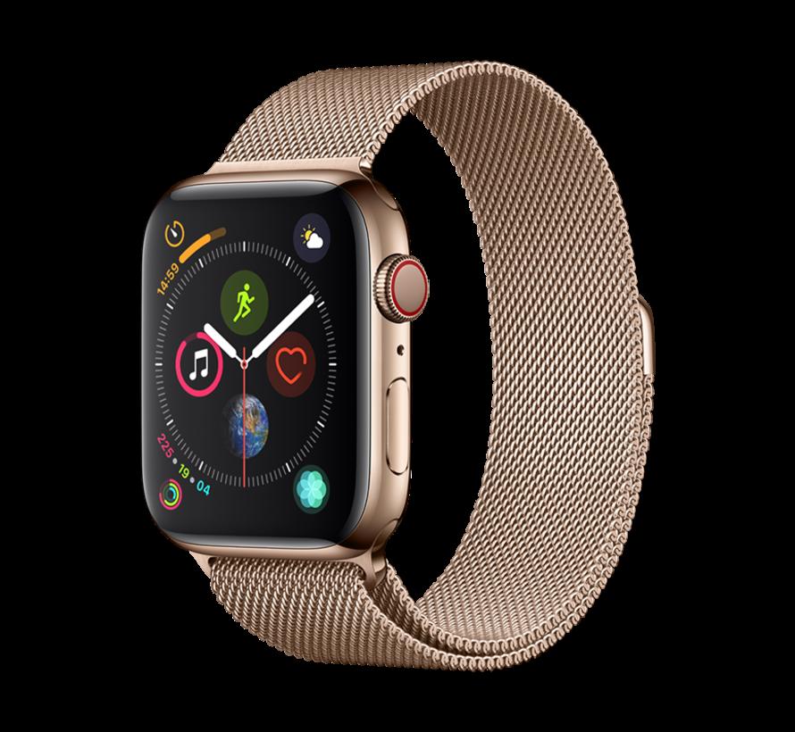 Geschikt voor Apple Watch 42/44MM Bandje Goud - Milanees