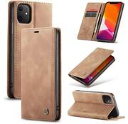 CaseMe iPhone 12 Mini Hoesje Lichtbruin 5.4 inch - Retro Wallet Slim