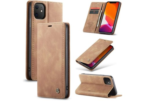iPhone 12 Mini Hoesje Lichtbruin 5.4 inch - Retro Wallet Slim