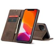 CaseMe iPhone 12 en 12 Pro Hoesje Bruin - Retro Wallet Slim