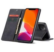 CaseMe iPhone 12 en 12 Pro Hoesje Zwart - Retro Wallet Slim