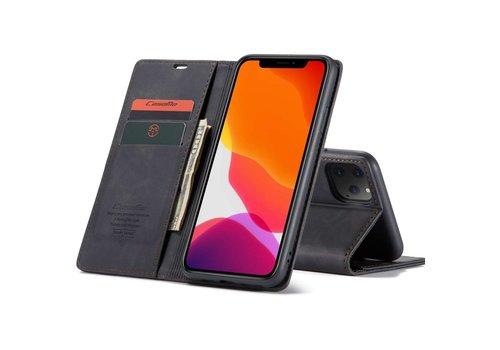 iPhone 12 en 12 Pro Hoesje Zwart - Retro Wallet Slim