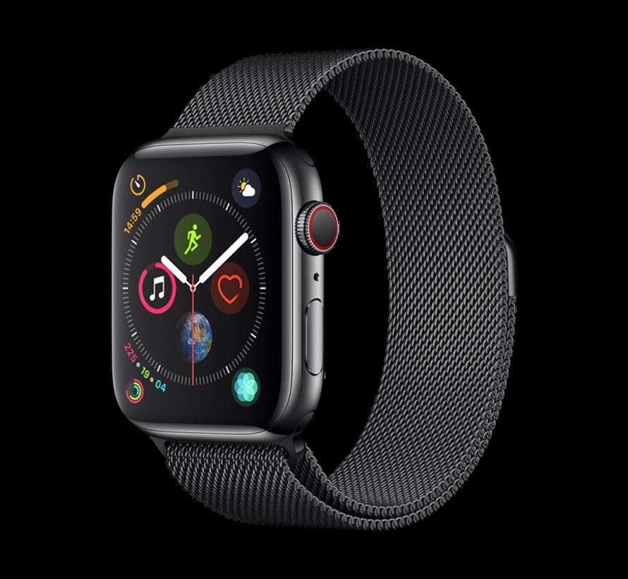 Geschikt voor Apple Watch 42/44MM Bandje Zwart - Milanees