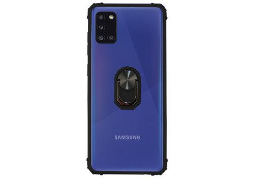 Samsung A31 Hoesje Transparant Zwart - Ring Popsocket