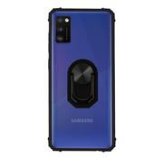 Colorfone Samsung A41 Hoesje Transparant - Zwart Ring Popsocket