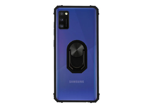 Samsung A41 Hoesje Transparant - Zwart Ring Popsocket