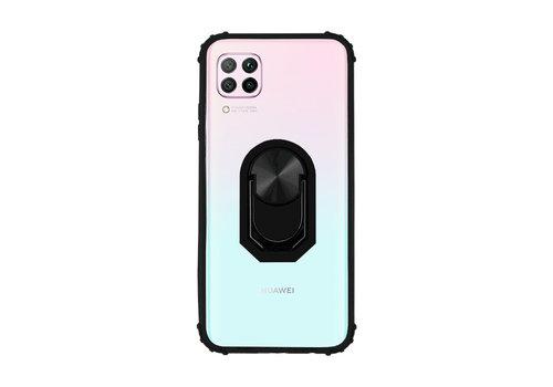 Huawei P40 Lite Hoesje Transparant Zwart - Ring Popsocket