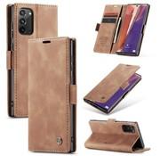 CaseMe Samsung Note 20 Hoesje Lichtbruin - Retro Wallet Slim