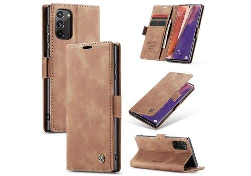 Samsung Note 20 Hoesje Lichtbruin - Retro Wallet Slim