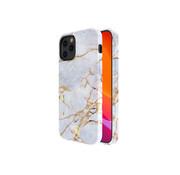 Kingxbar iPhone 12 Mini Hoesje Wit Marmer