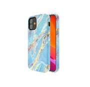 Kingxbar iPhone 12 Mini Hoesje LichtBlauw Marmer