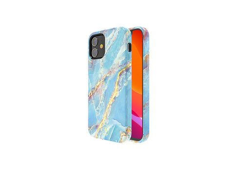 iPhone 12 Mini Hoesje Blauw Marmer