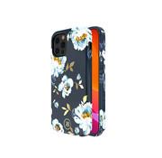 Kingxbar iPhone 12 Mini Hoesje Blauw Bloemen Gardenia