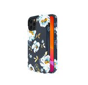Kingxbar iPhone 12 en 12 Pro Hoesje Blauw Bloemen Gardenia