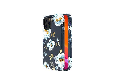 iPhone 12 Pro Max Hoesje Blauw Bloemen Gardenia