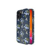 Kingxbar iPhone 12 / 12 Pro Hoesje Blauw Bloemen met Swarovski Kristallen