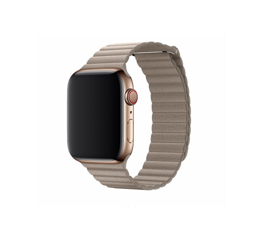 Geschikt voor Apple Watch 38/40MM Bandje Beige - Kunstleer
