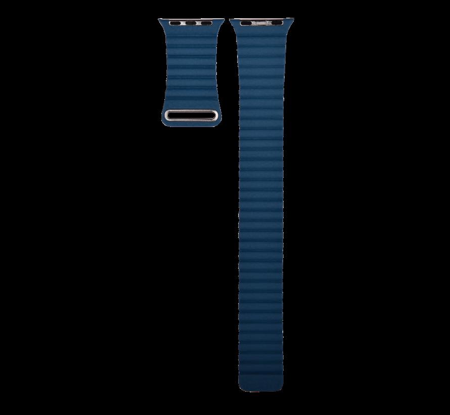 Geschikt voor Apple Watch 42/44MM Bandje Blauw - Kunstleder Loop