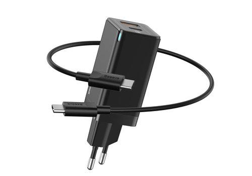 Snellader USB C en USB combi - zwart