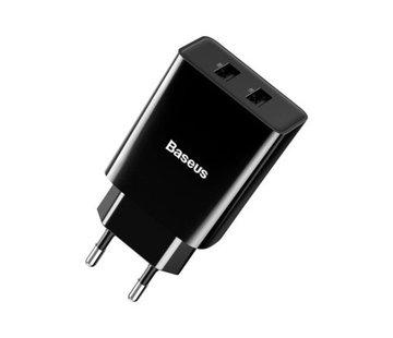 Baseus USB Stekker Lader - oplader kopje - 2 Poorten Zwart