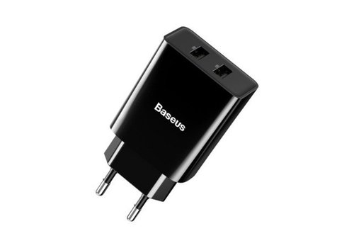 Charger head two inputs USB - Black