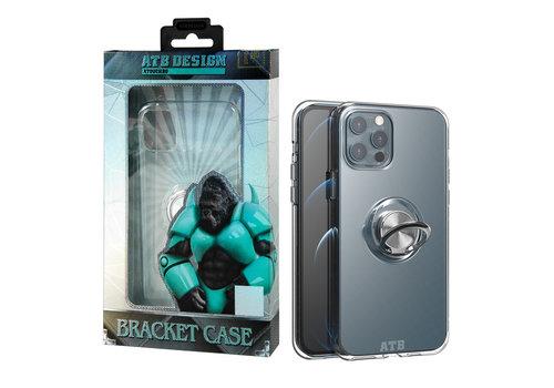 iPhone 12 en 12 Pro Hoesje Transparant met Ring en Magneet