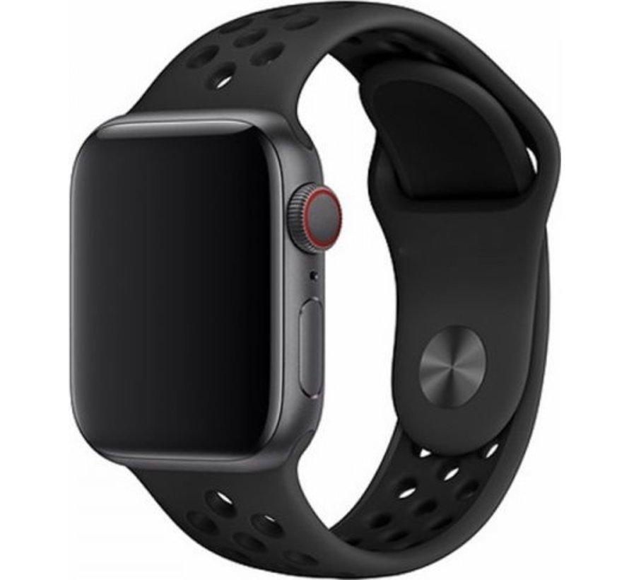 Geschikt voor Apple Watch 38/40MM Bandje Zwart - iWatch Series 1/2/3/4/5/6/SE - Sport Deluxe Horlogeband