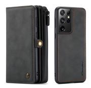 CaseMe Samsung S21 Ultra Hoesje Zwart - Multi Wallet