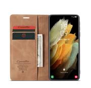 CaseMe Samsung S21 Ultra Hoesje Lichtbruin - Retro Wallet Slim