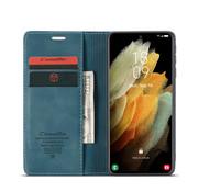 CaseMe Samsung S21  Ultra Hoesje Blauw - Retro Wallet Slim