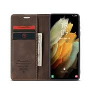 CaseMe Samsung S21 Ultra Hoesje Bruin - Retro Wallet Slim